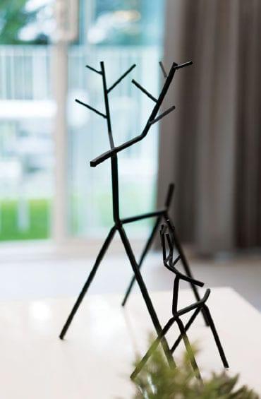 Metal stick figures of animals