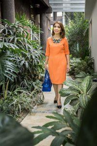 Shift dress by Neng Abacajan in tangerine